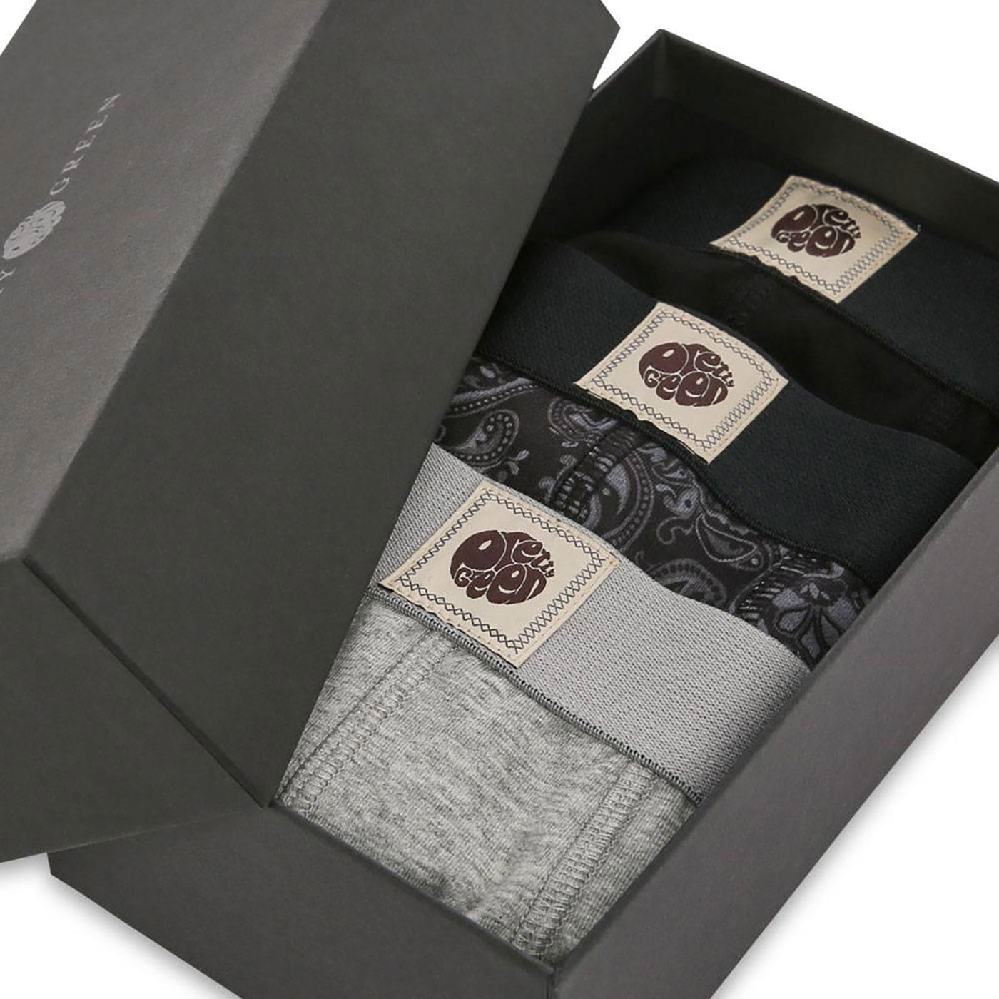 PRETTY GREEN 3 Pack Retro Boxer Shorts Gift Set B