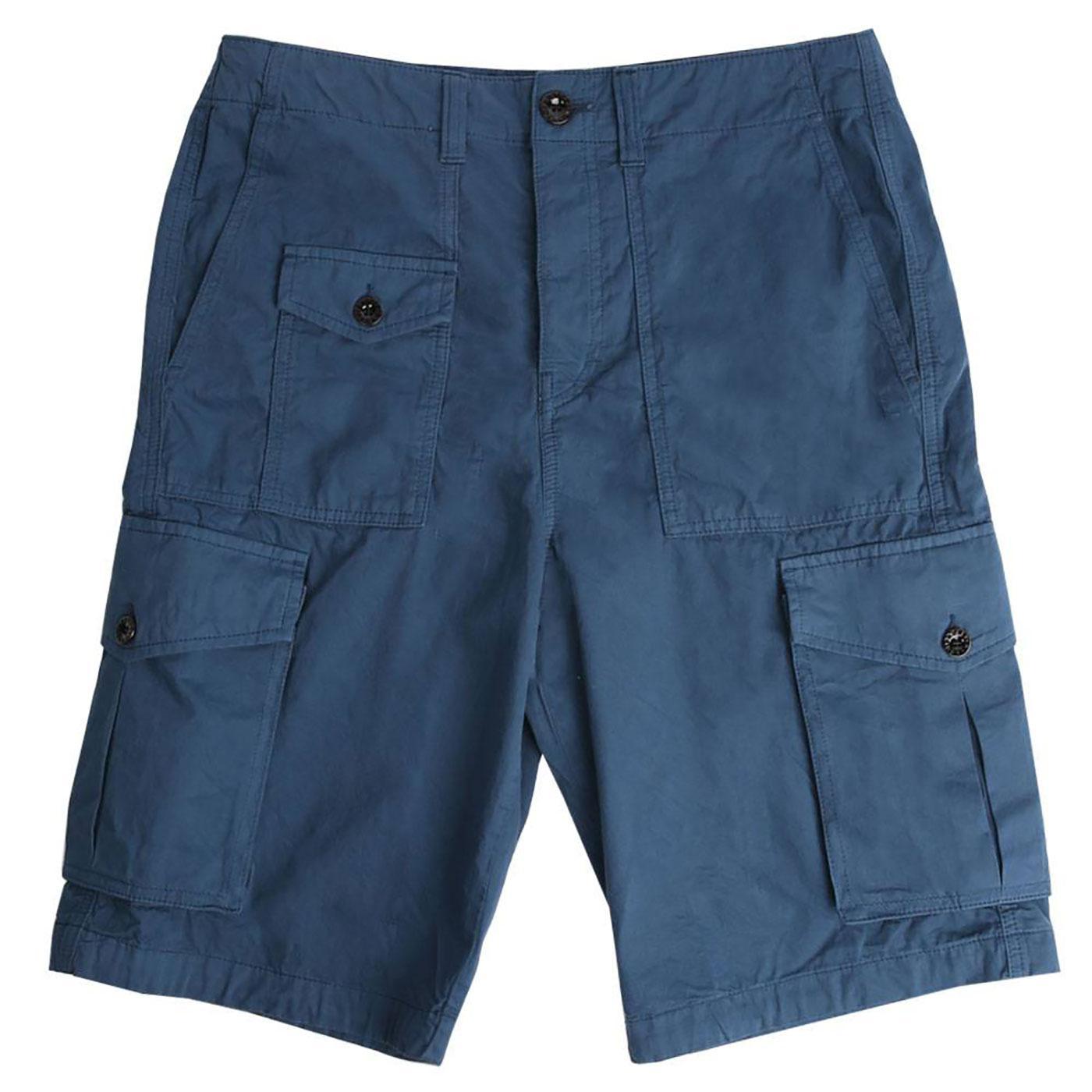 PRETTY GREEN Men's Retro Twill Cargo Shorts BLUE