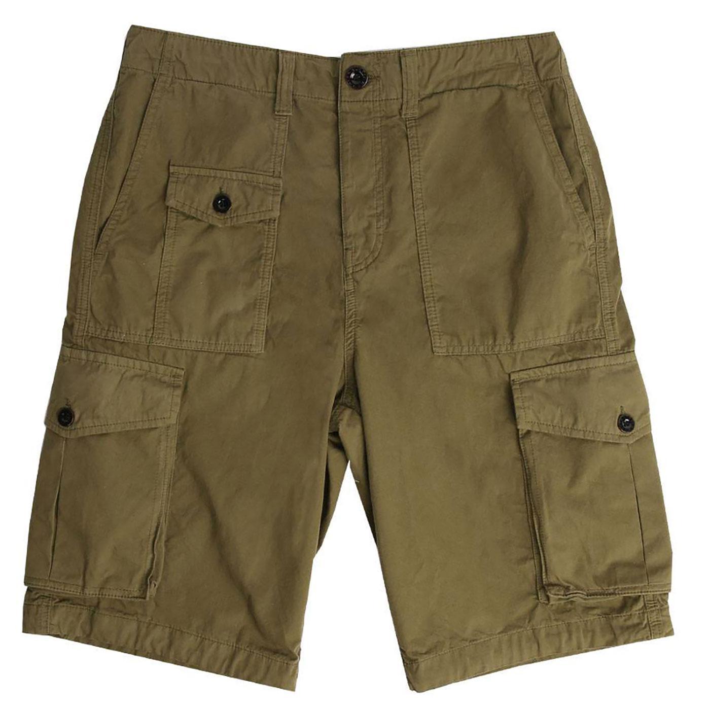 PRETTY GREEN Retro Twill Military Cargo Shorts K