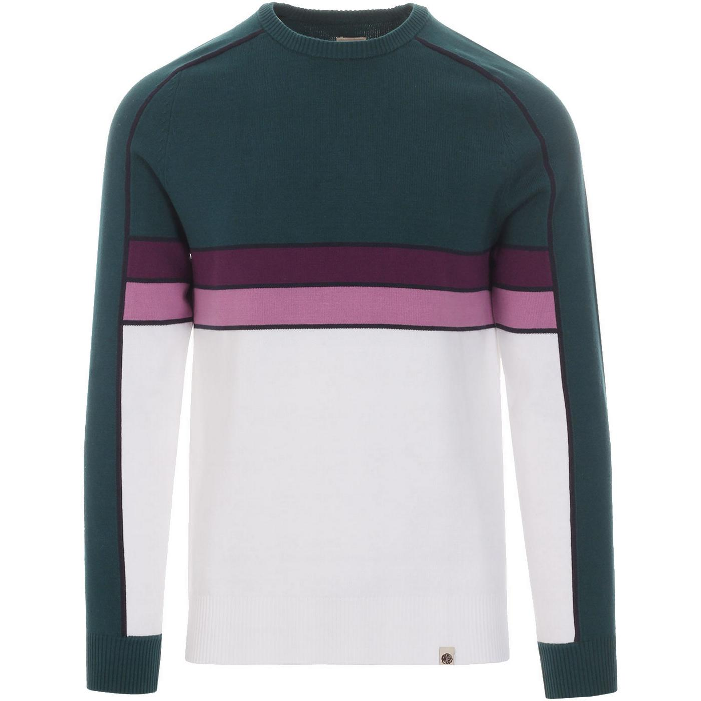 PRETTY GREEN Retro Contrast Panel Knitted Jumper G