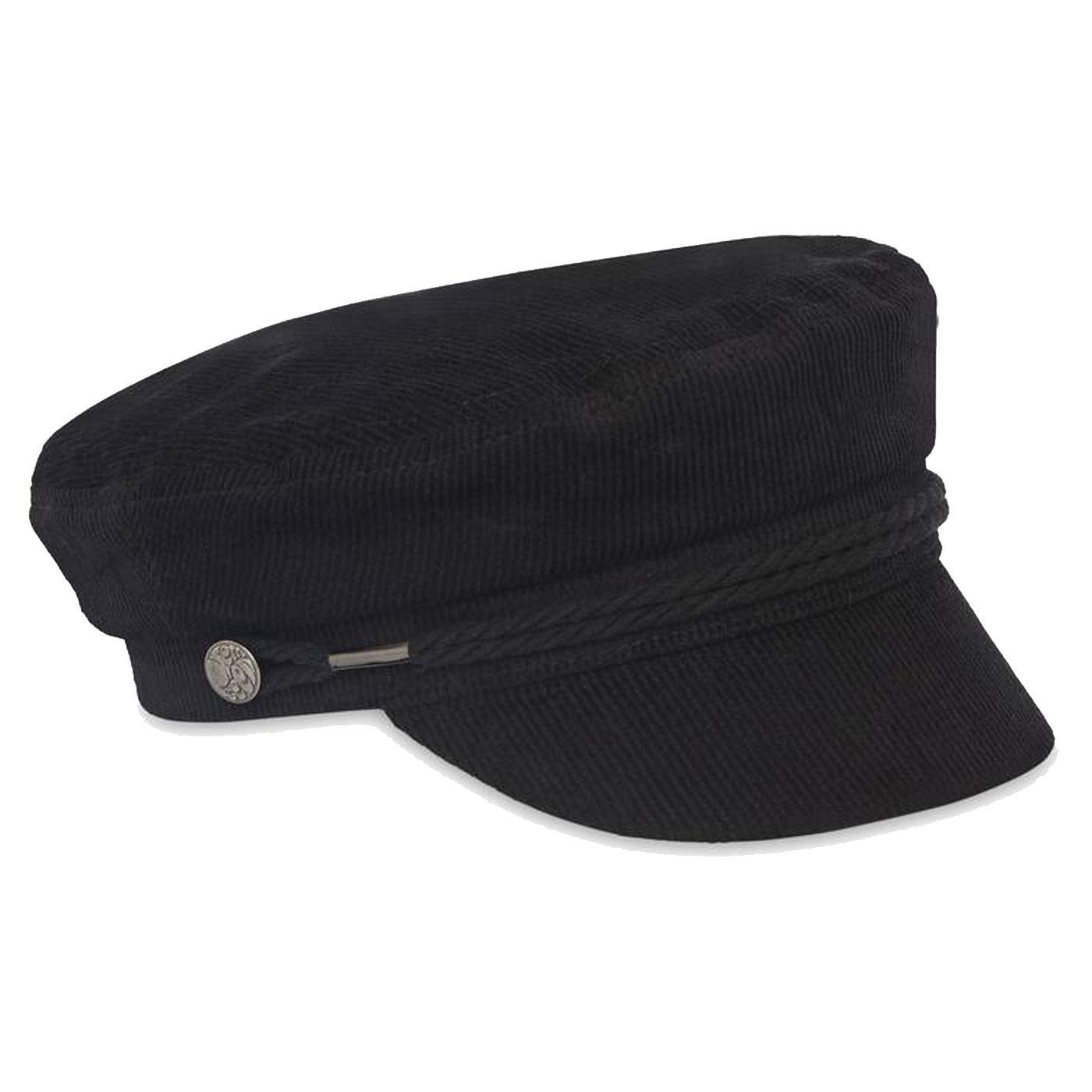 PRETTY GREEN Retro Sixties Cord Lennon Hat BLACK