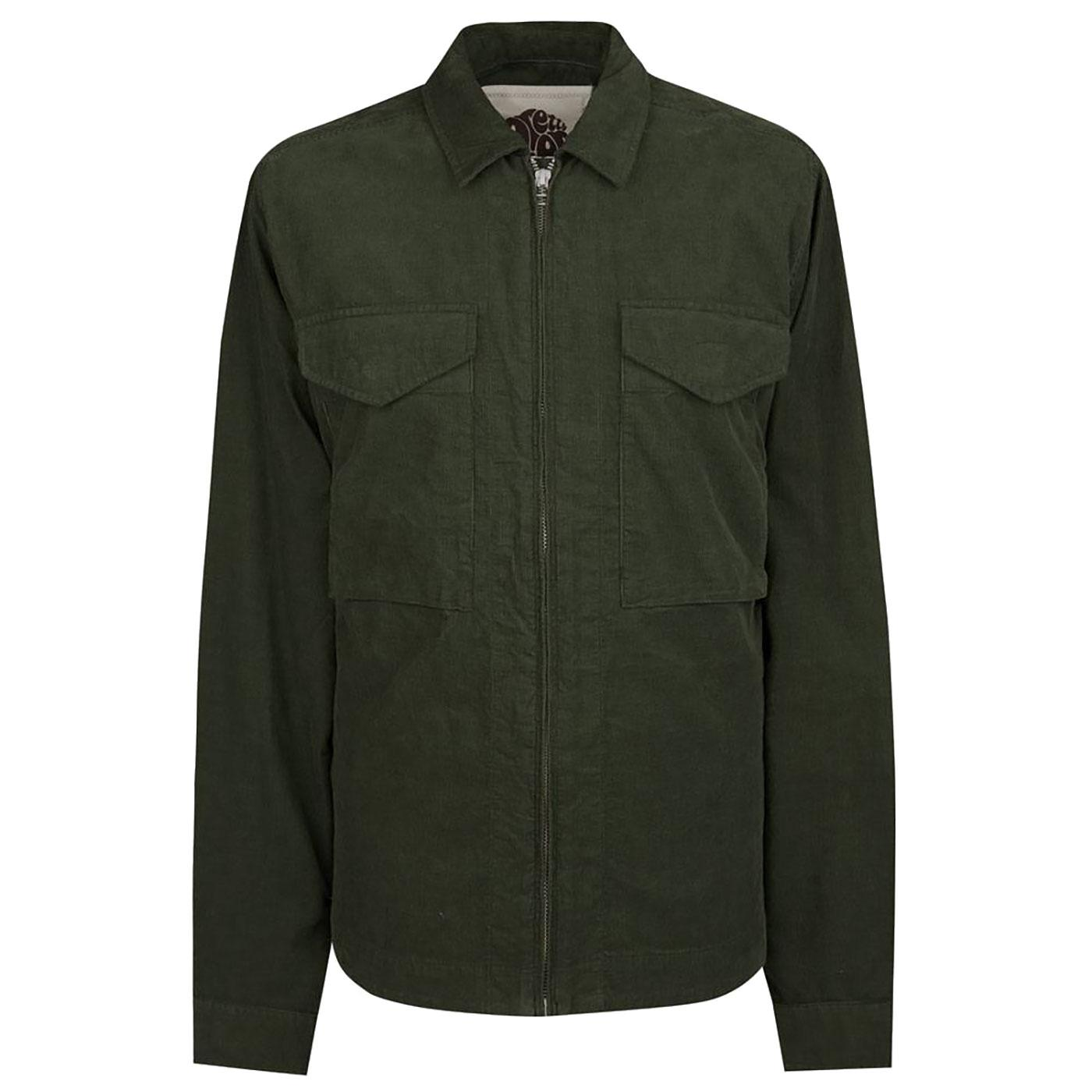 PRETTY GREEN Retro Zip Up Cord Overshirt Jacket