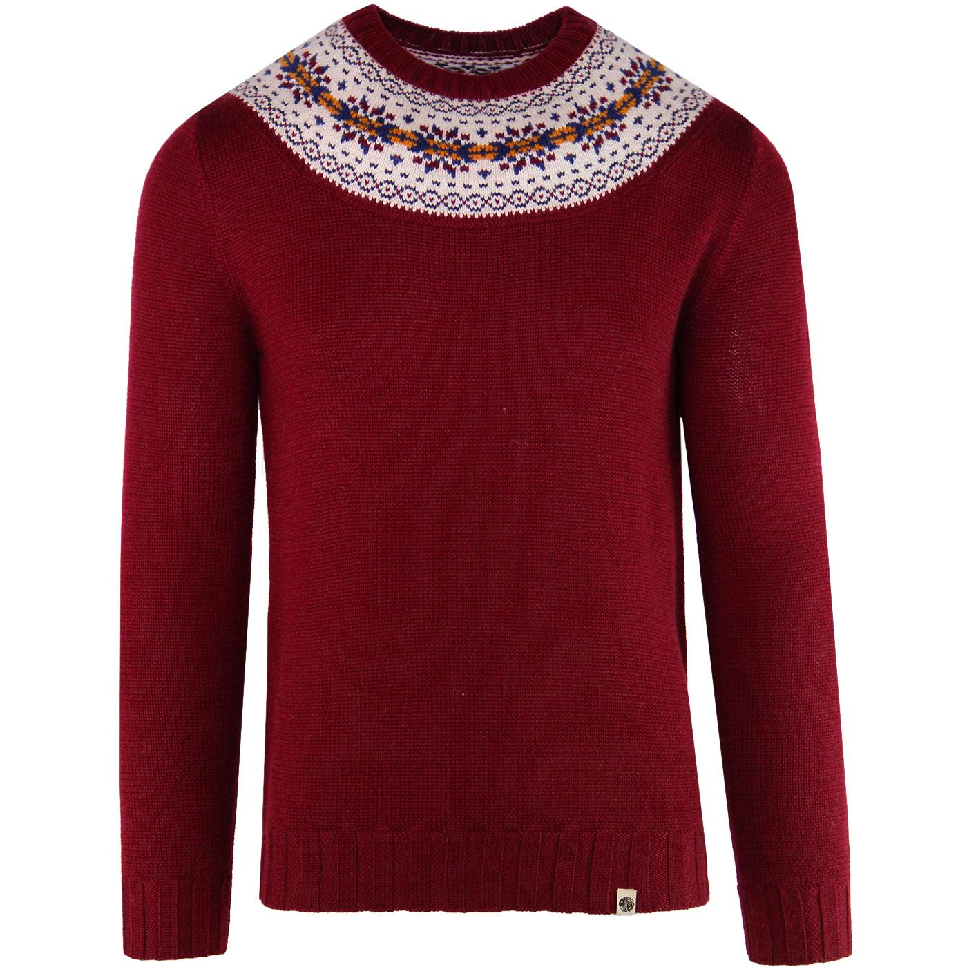 PRETTY GREEN Retro 70's Knitted Fair Isle Jumper