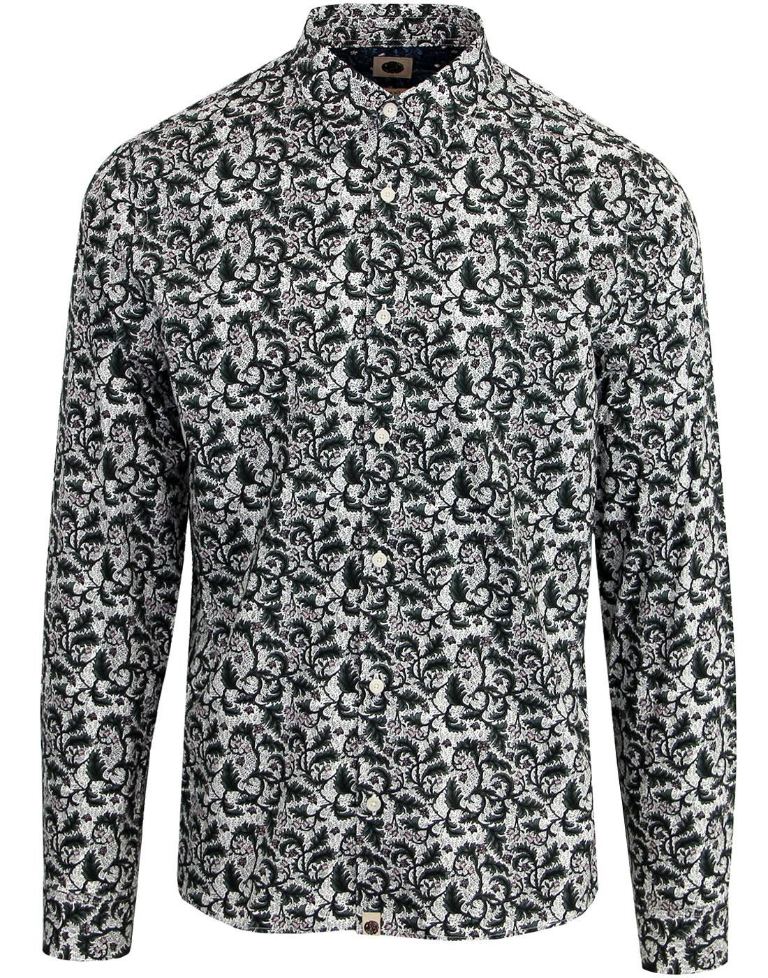 PRETTY GREEN Retro 60's Floral Print Shirt - Green