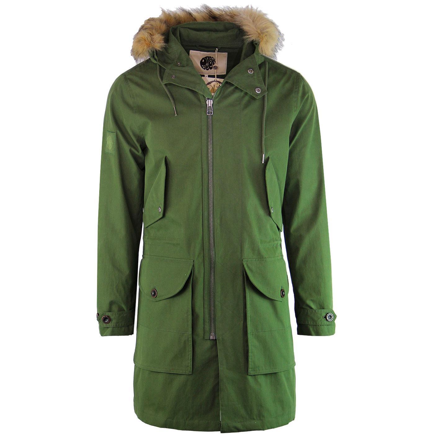 PRETTY GREEN 60s Mod Fur Trim Hooded Parka Jacket