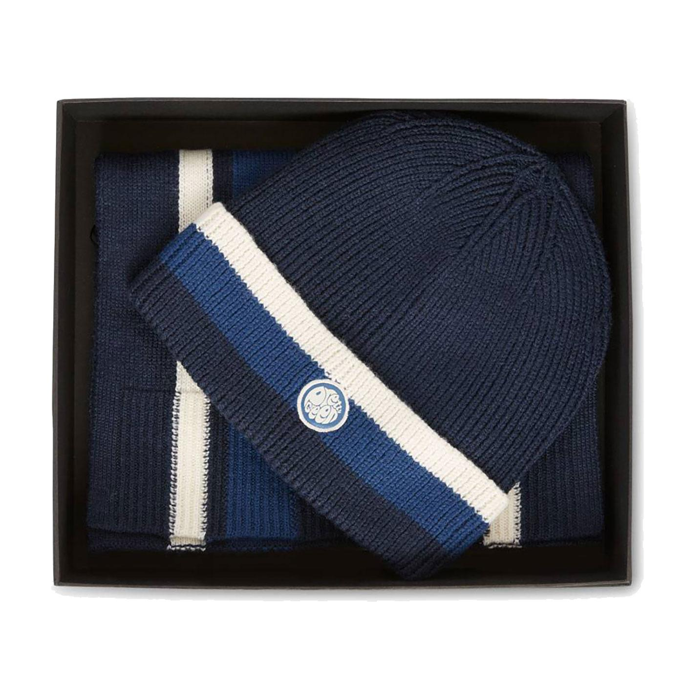PRETTY GREEN Knitted Stripe Hat & Scarf Gift Set