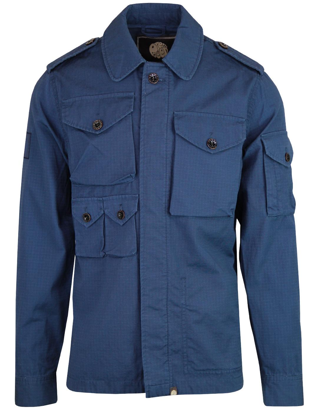 PRETTY GREEN Retro Ripstop M65 Field Jacket BLUE