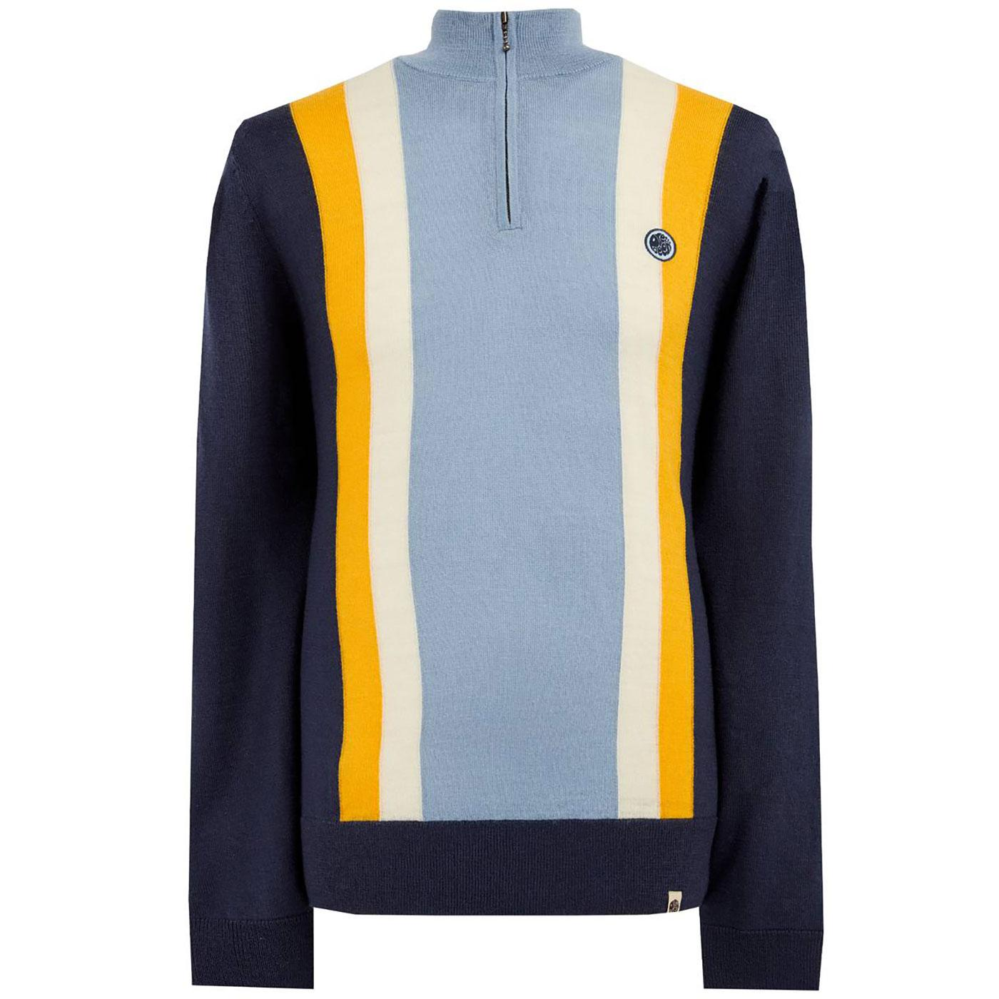 PRETTY GREEN Knitted Stripe Zip Neck Cycling Top