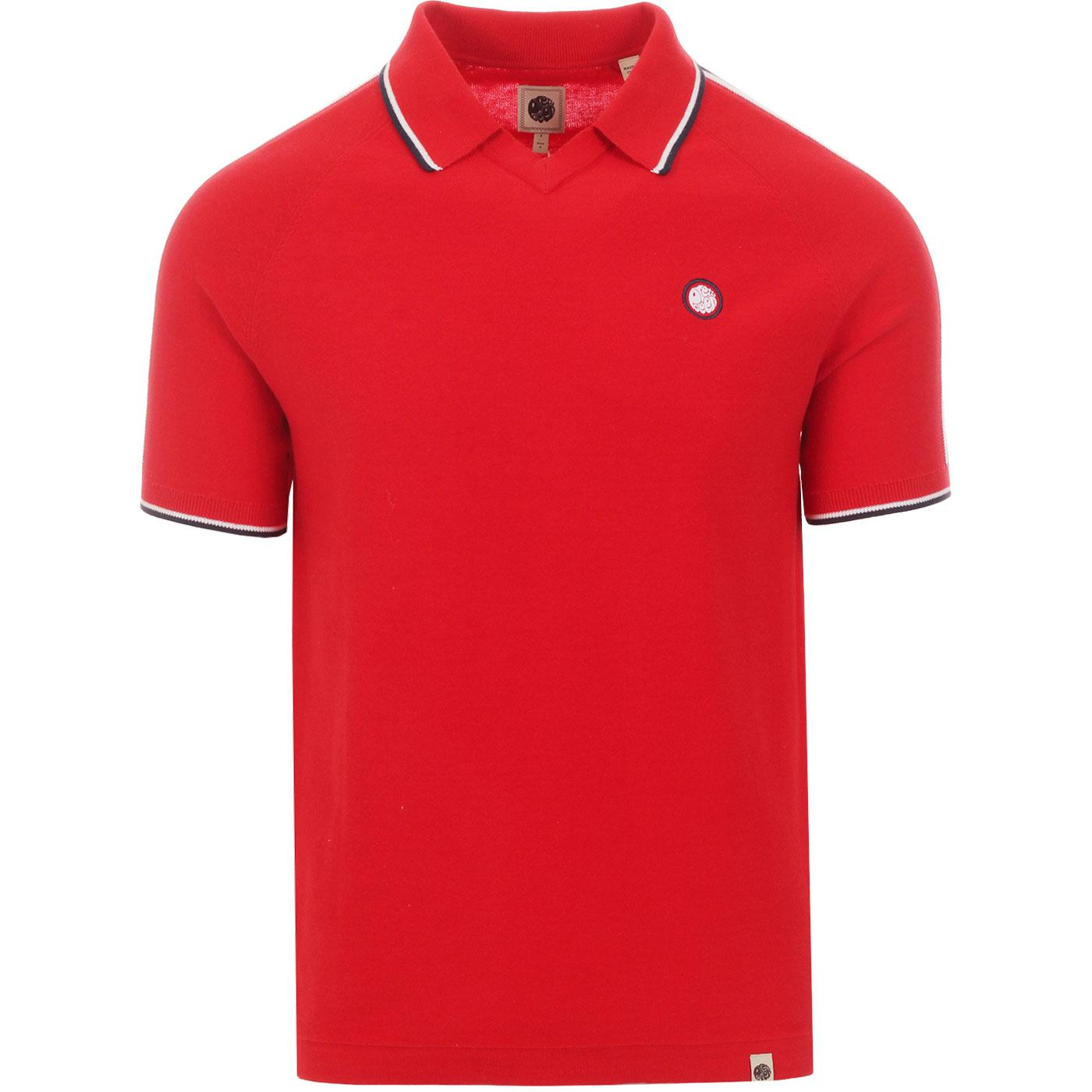 PRETTY GREEN Knitted Shoulder Stripe Football Top