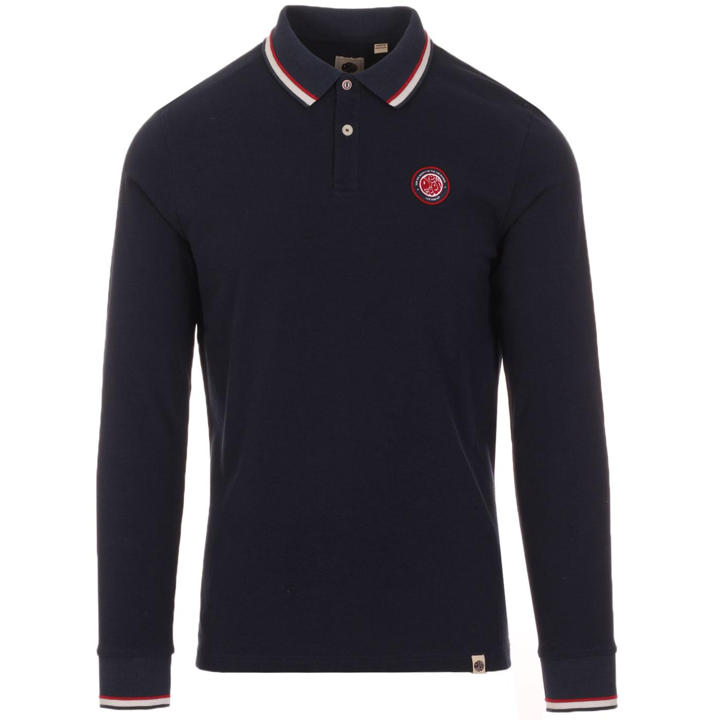 PRETTY GREEN Likeminded Mod Tipped LS Polo (Navy)