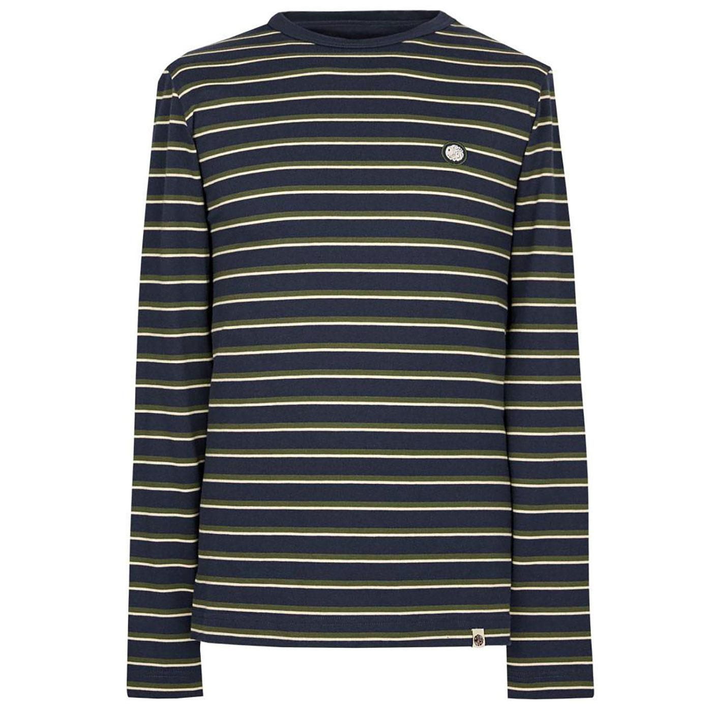 PRETTY GREEN Retro Long Sleeve Stripe T-Shirt N
