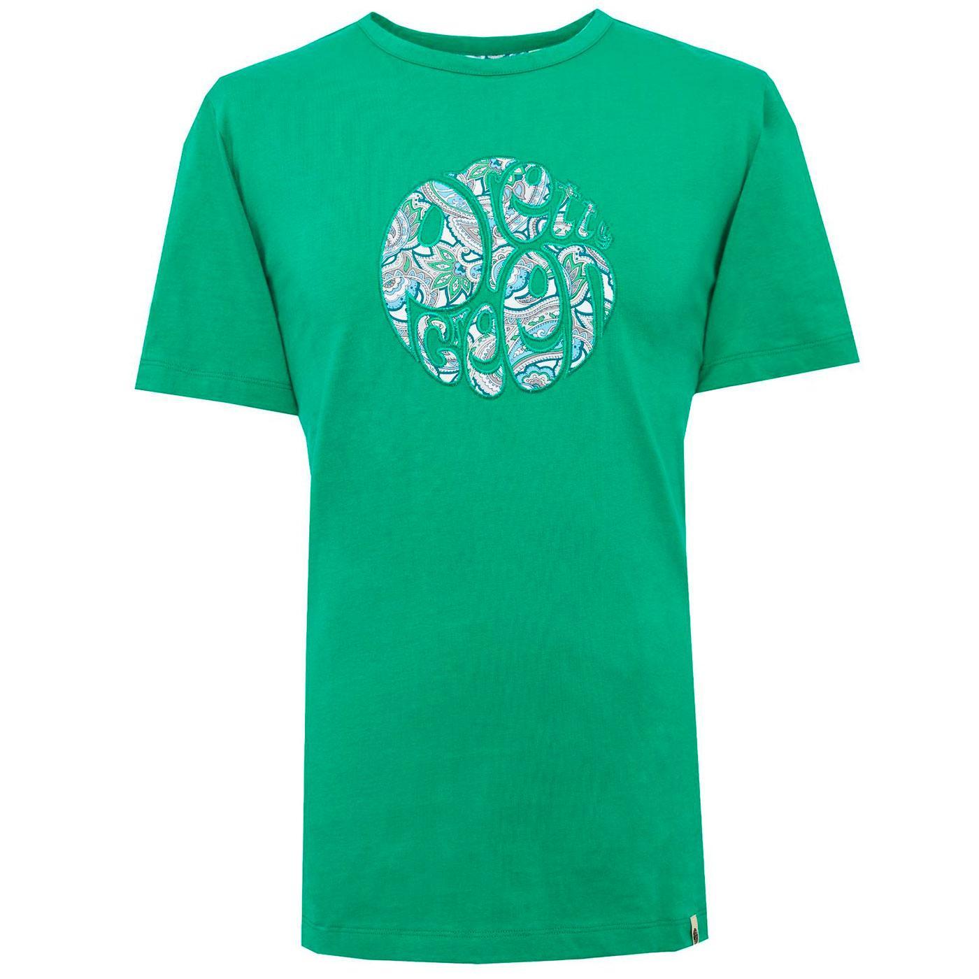 PRETTY GREEN Mod Paisley Applique Logo Tee (Green)