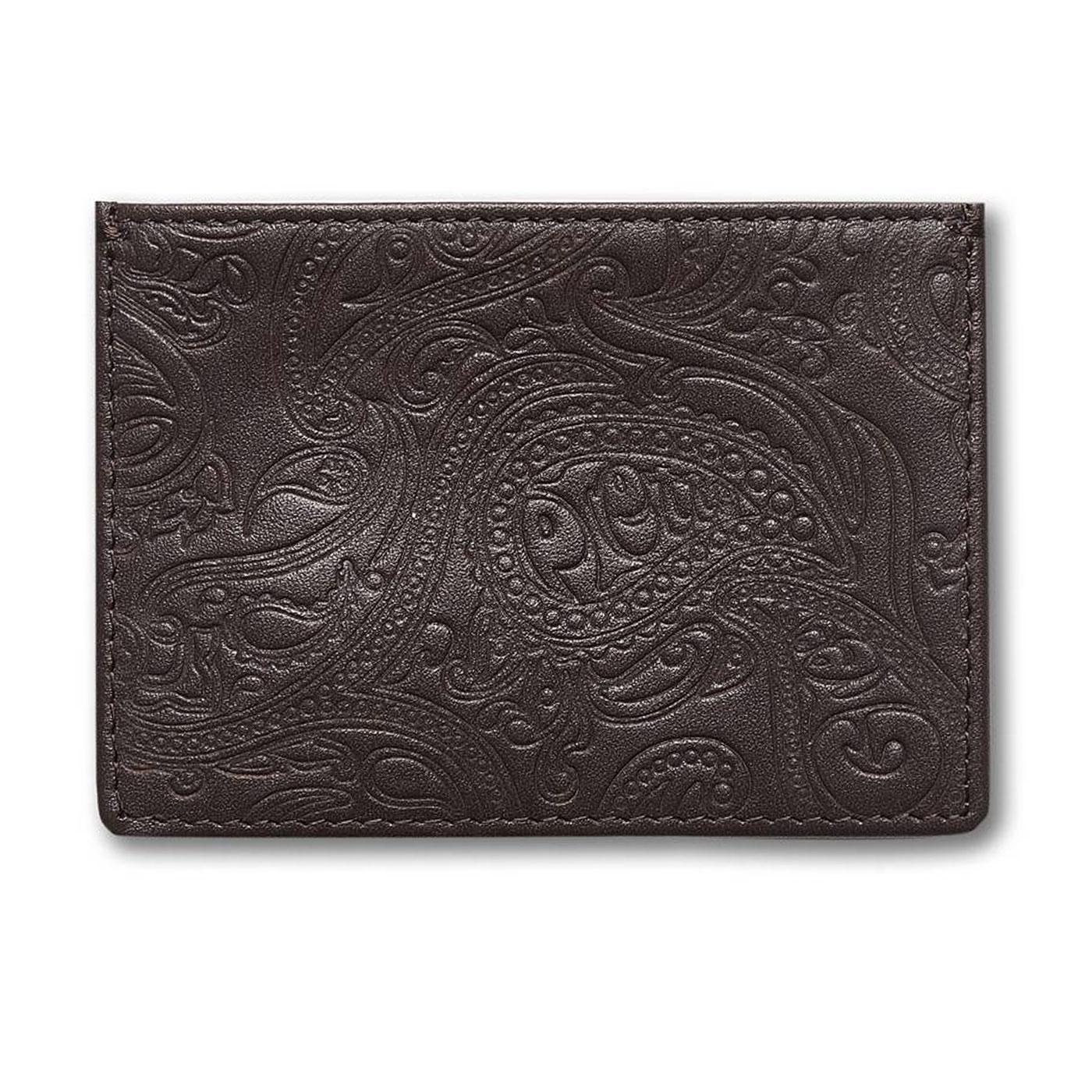 PRETTY GREEN Paisley Embossed Card Holder (Choc)