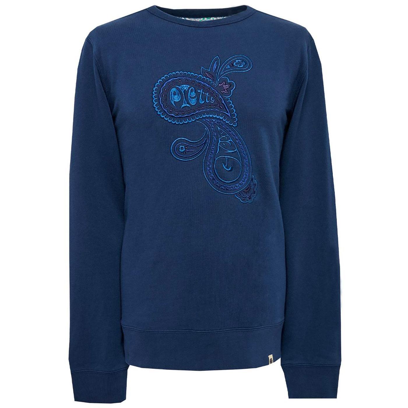PRETTY GREEN Paisley Embroidered Sweatshirt (Navy)