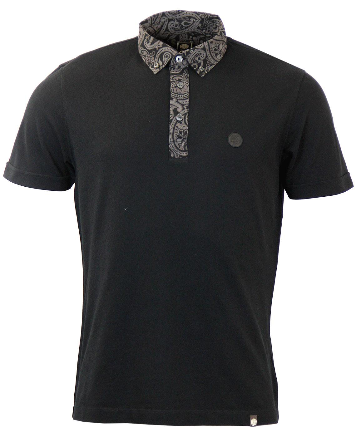 PRETTY GREEN Retro Indie Paisley Collar SS Polo