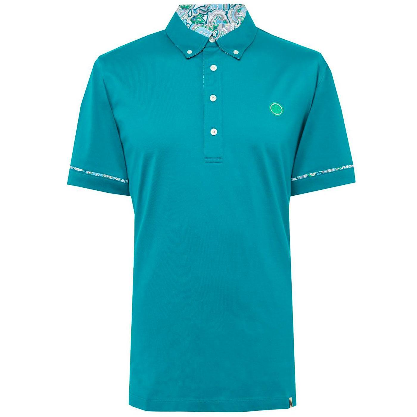 PRETTY GREEN 60s Mod Paisley Collar Polo Top (G)