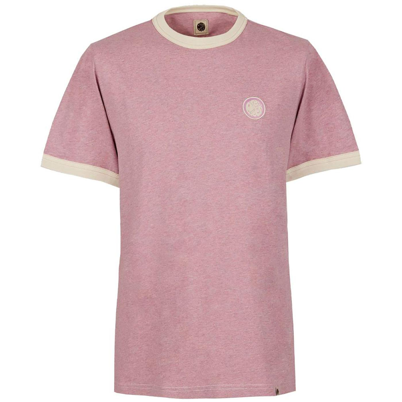 PRETTY GREEN Retro Sixties Badge Ringer Tee PINK