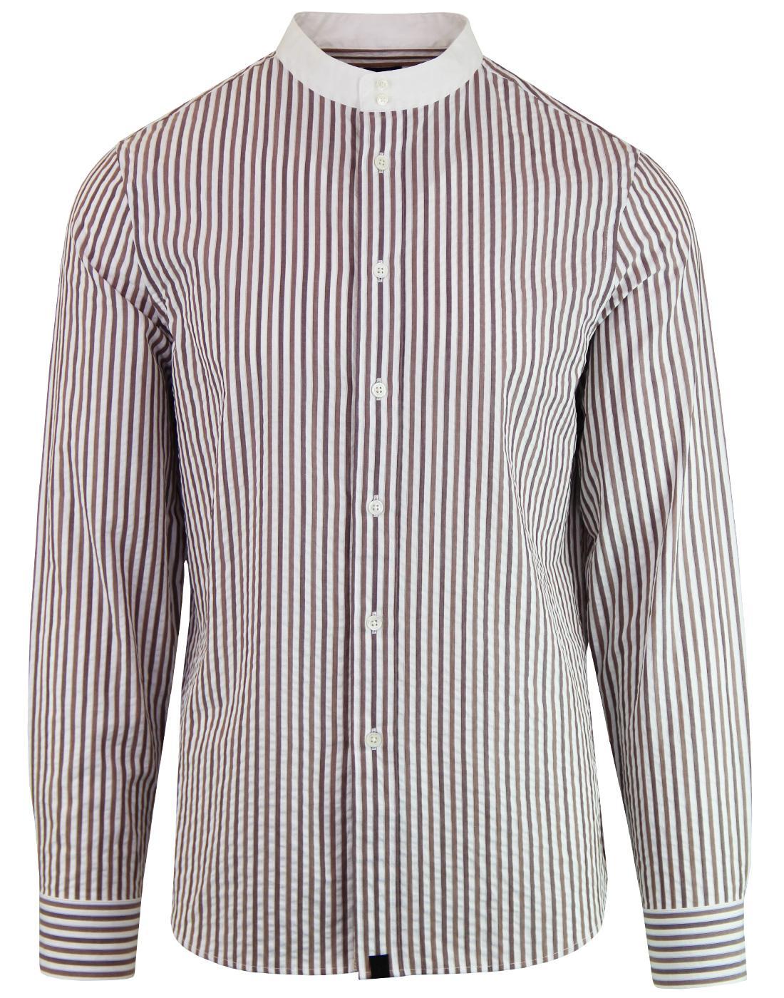 PRETTY GREEN Black Label Seersucker Kaftan Shirt