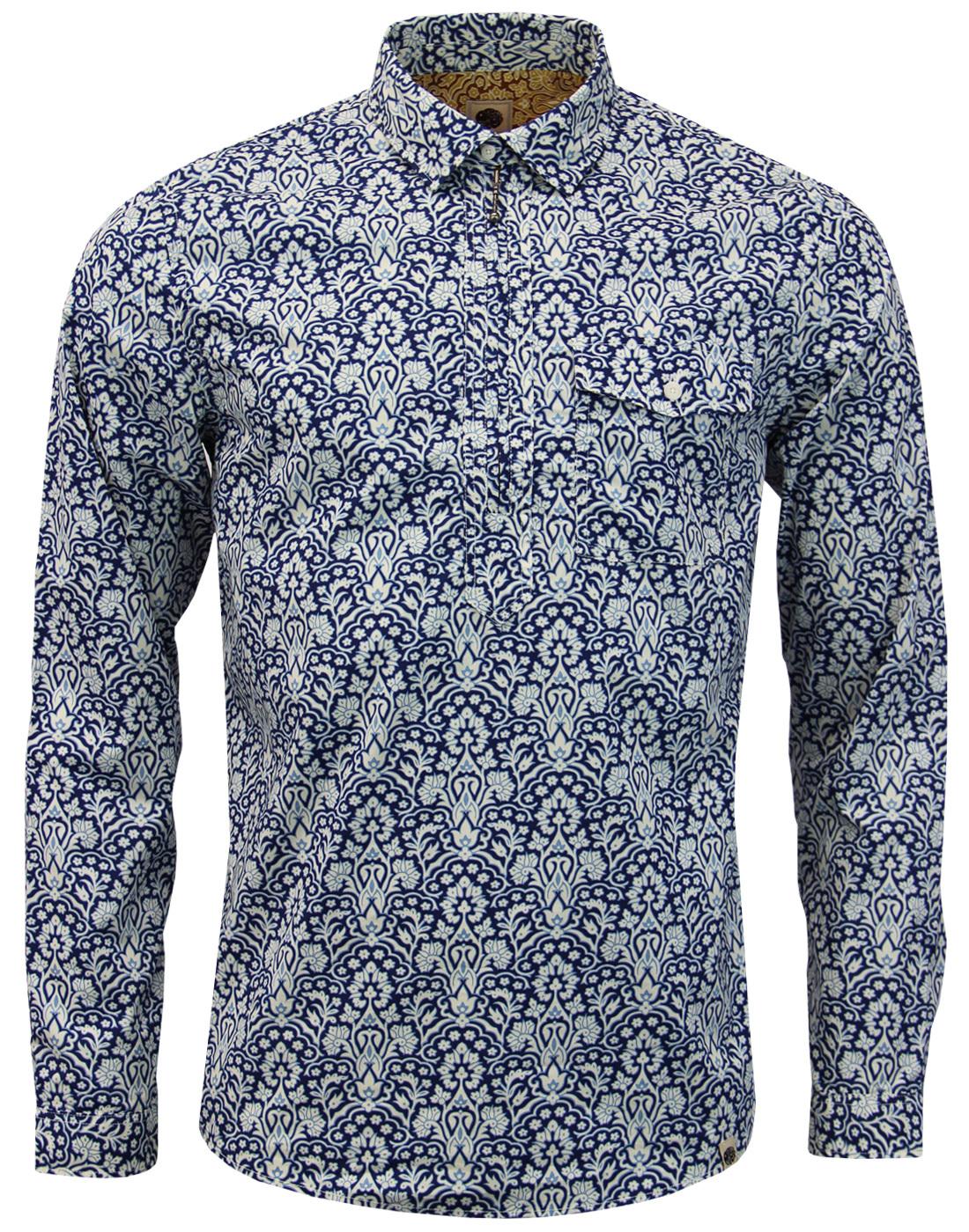 Sundew PRETTY GREEN 60s Zip Up Floral Shirt NAVY