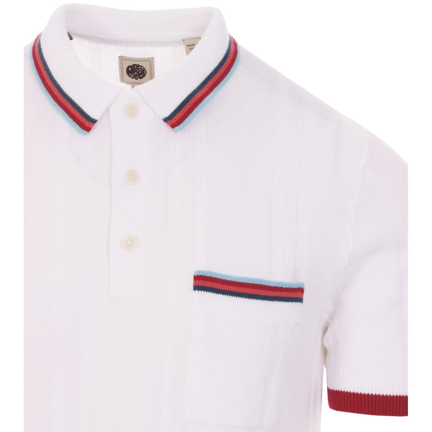 PRETTY GREEN Textured Knit Striped Pocket Polo W