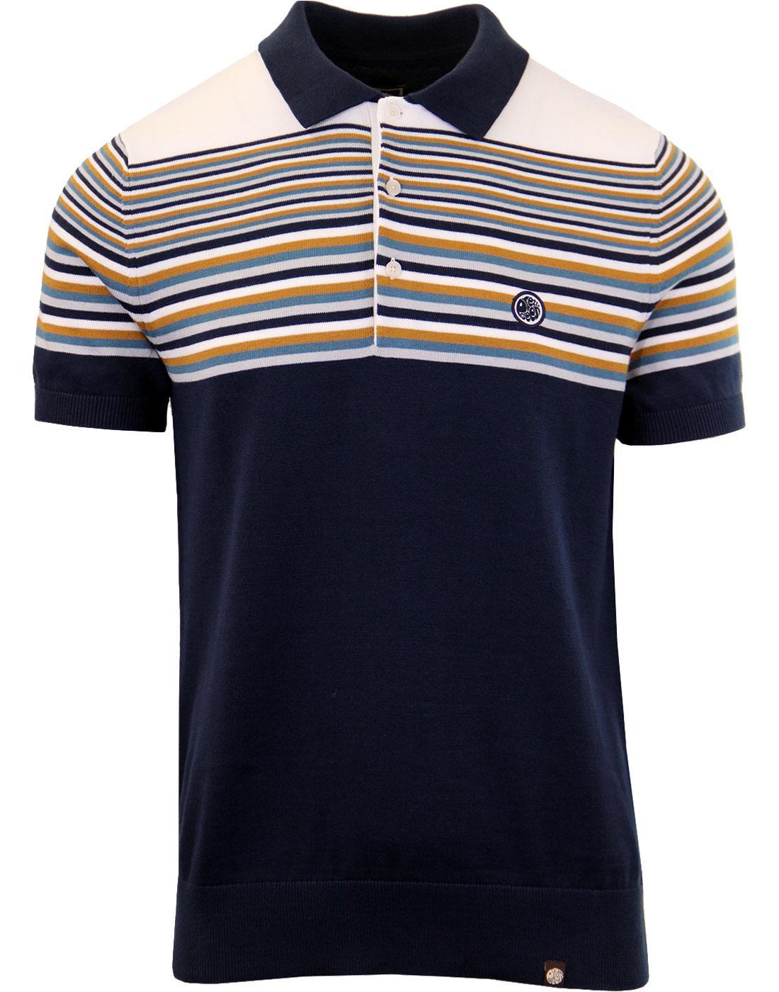 Blue // Multicoloured Pretty Green Mens Stripe Knitted Polo Shirt