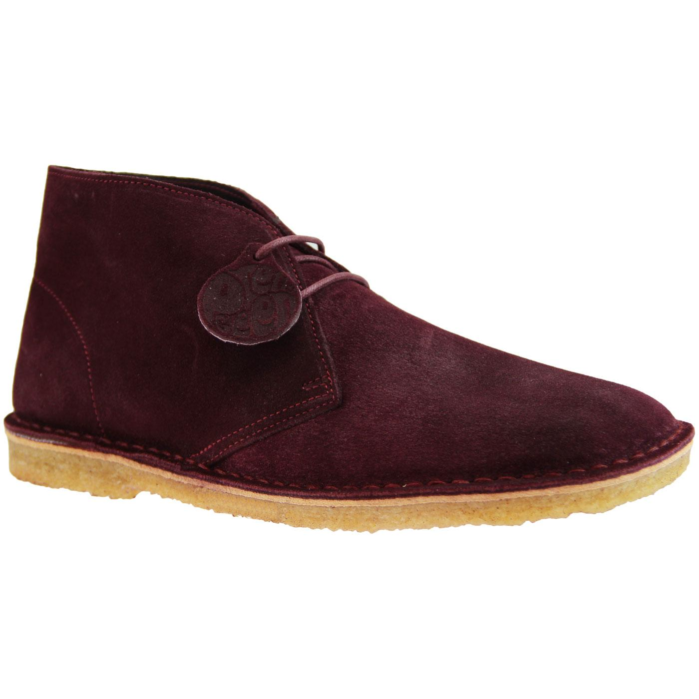 PRETTY GREEN Mod Crepe Sole Desert Boots BURGUNDY