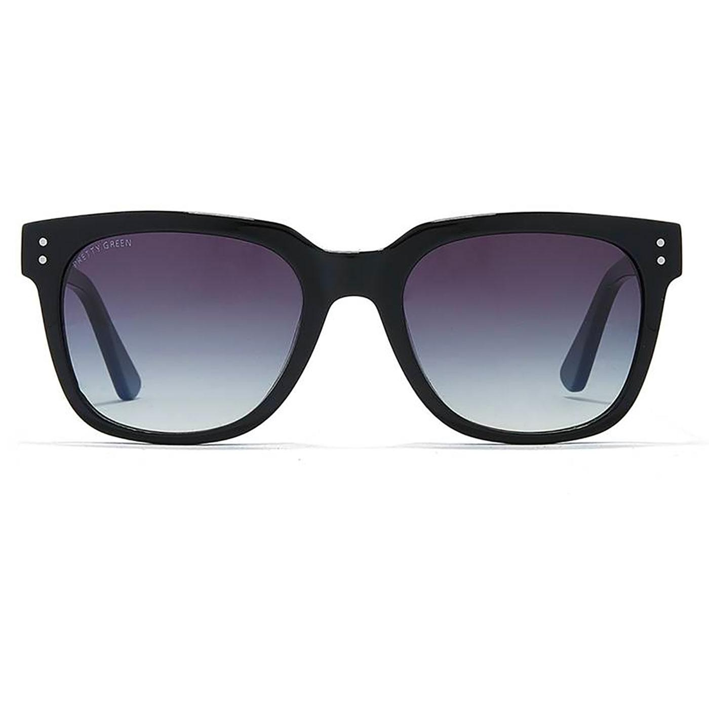 PRETTY GREEN Men's Retro Wayfarer Sunglasses BLACK