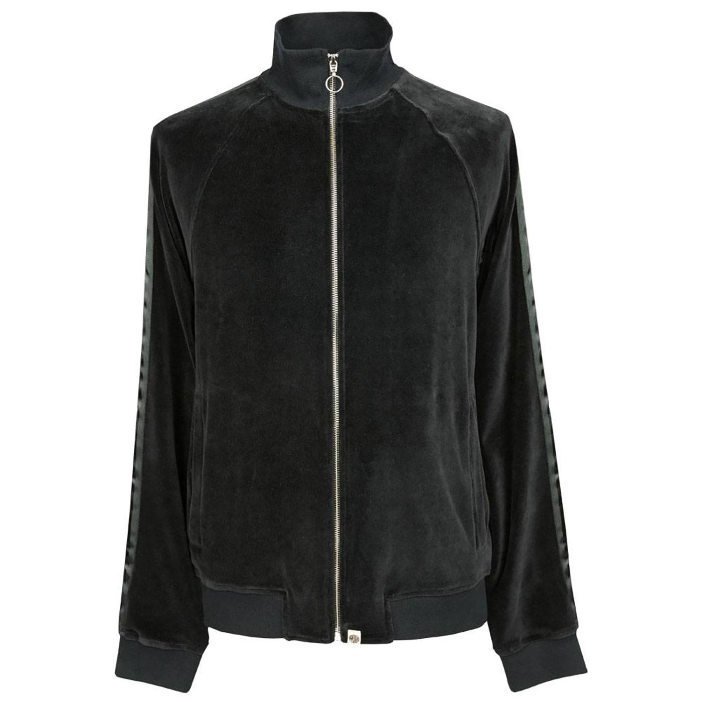 PRETTY GREEN Velour Tape Sleeve Track Jacket BLACK