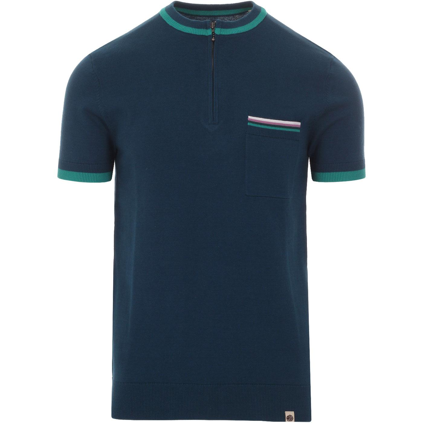 PRETTY GREEN Tipped Knitted Zip Neck Cycling Top