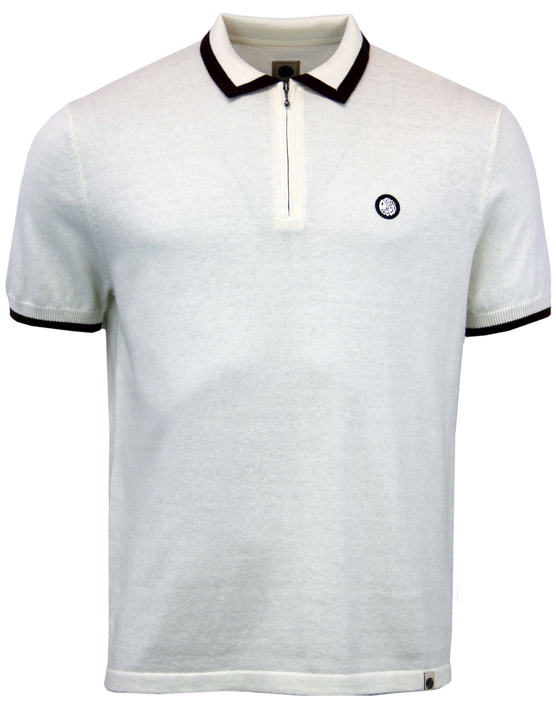 Lowry PRETTY GREEN 1960s Mod Tipped Knit Zip Polo