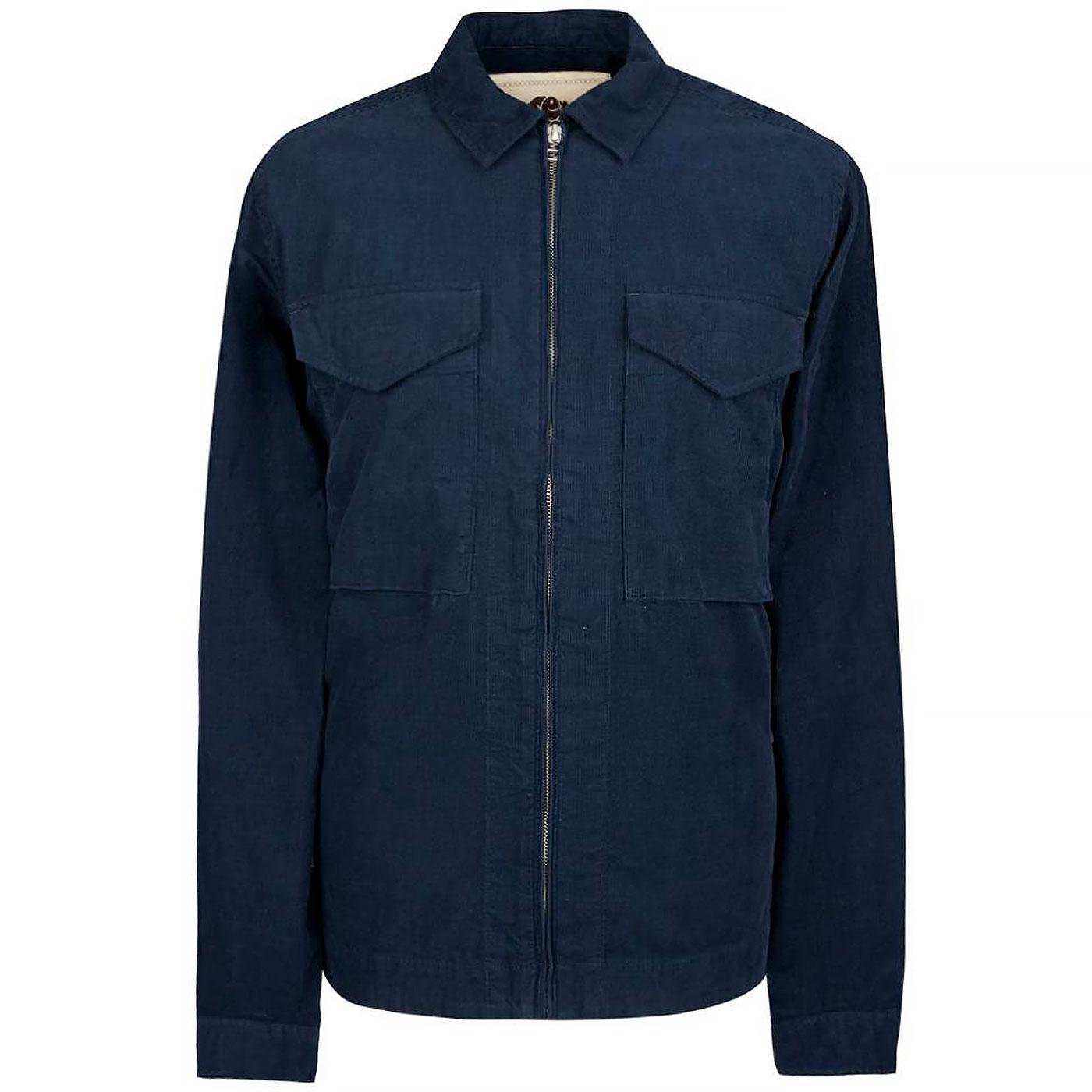 PRETTY GREEN Retro Zip Up Cord Overshirt Jacket N