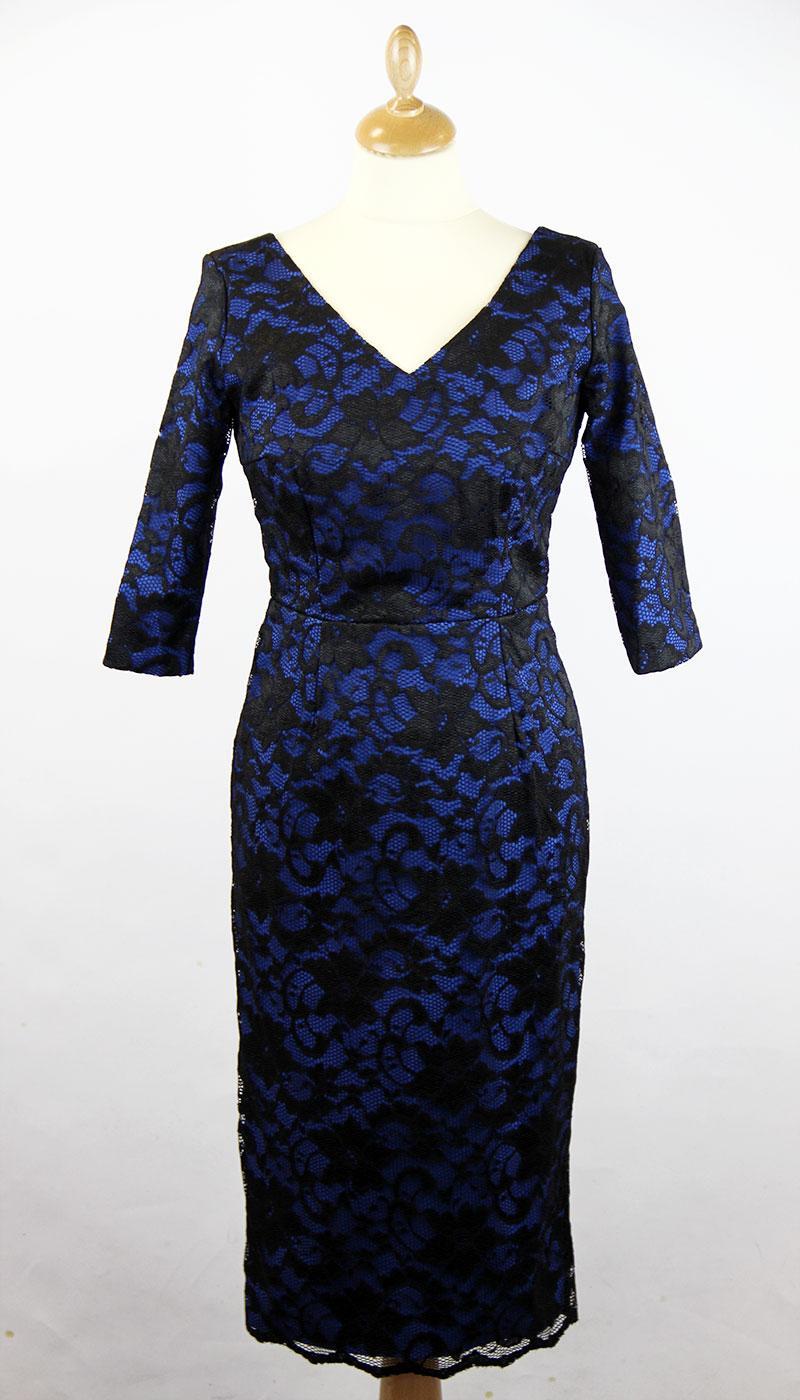 pretty dress burbank retro royal lace hourglass pencil dress