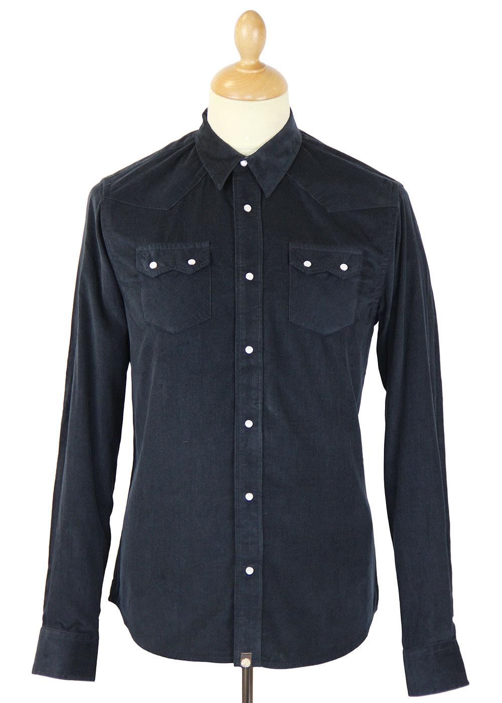 PRETTY GREEN Retro Mod L/S Cord Western Shirt (N)