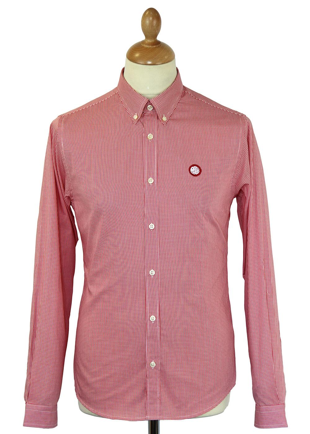 Pretty green retro mod button down glendale gingham shirt red for Red and green checked shirt