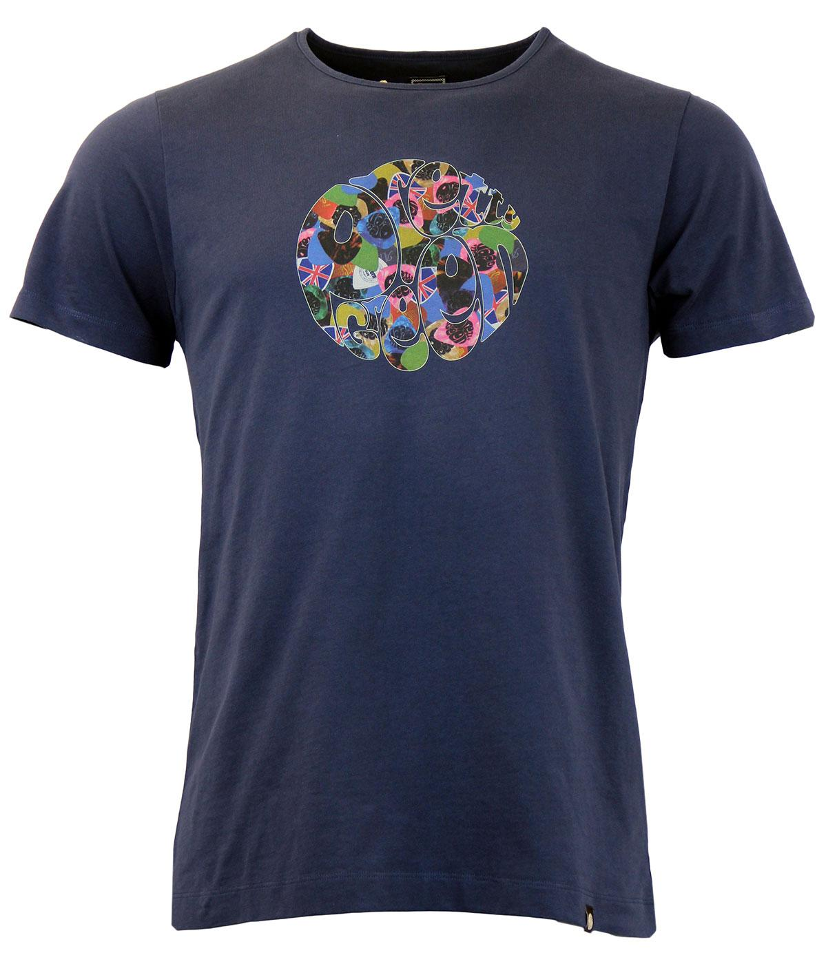 PRETTY GREEN Retro Mod SS Plectrum Logo Tee (NAVY)