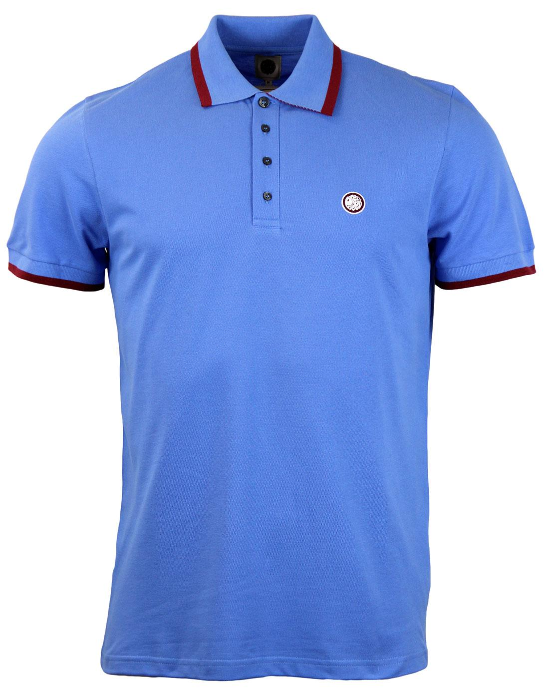PRETTY GREEN Retro Mod Multistripe Pique Polo BLUE