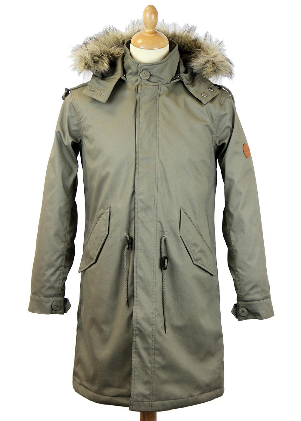 PRETTY GREEN Retro Mod Fixed Lined Fishtail Parka
