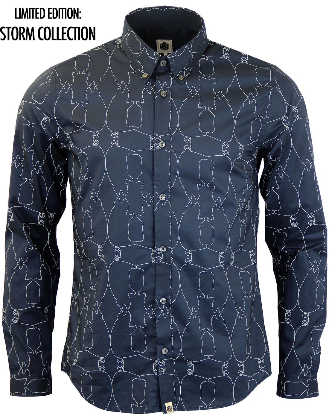 PRETTY GREEN Retro LS Linear Pig Print Shirt NAVY