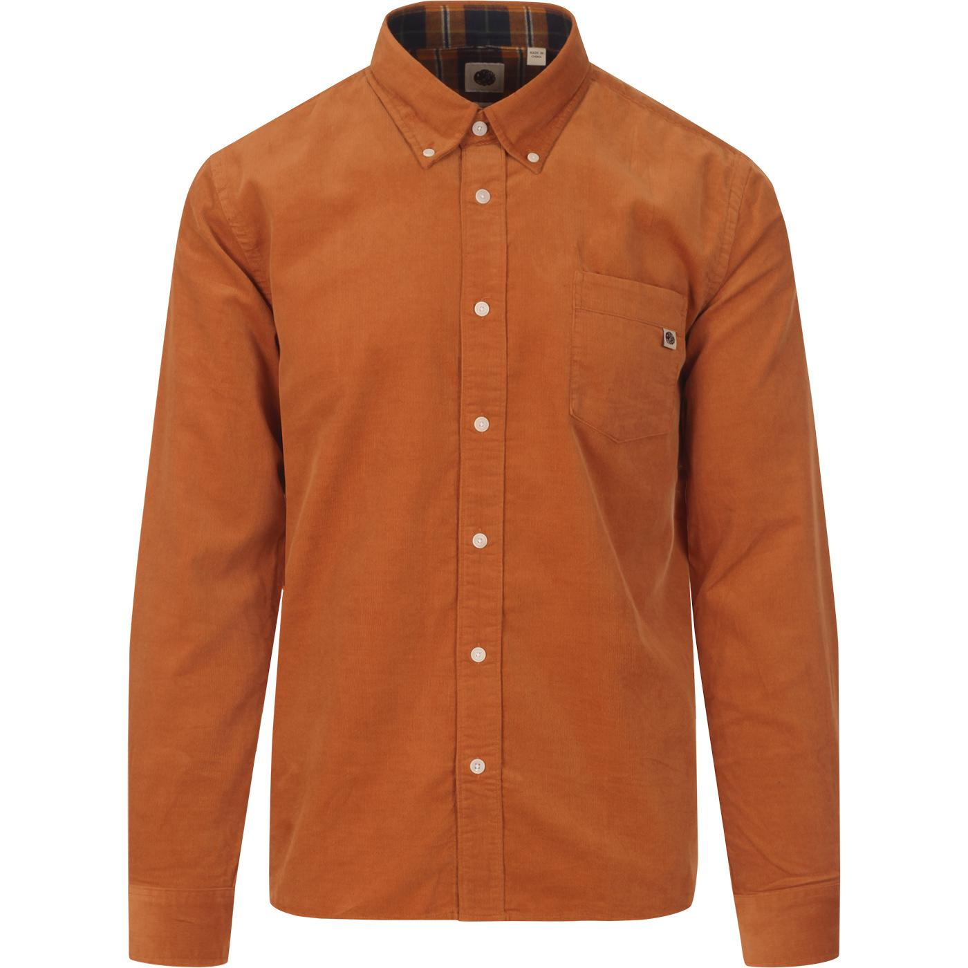 PRETTY GREEN Retro Mod BD Babycord Shirt (Orange)
