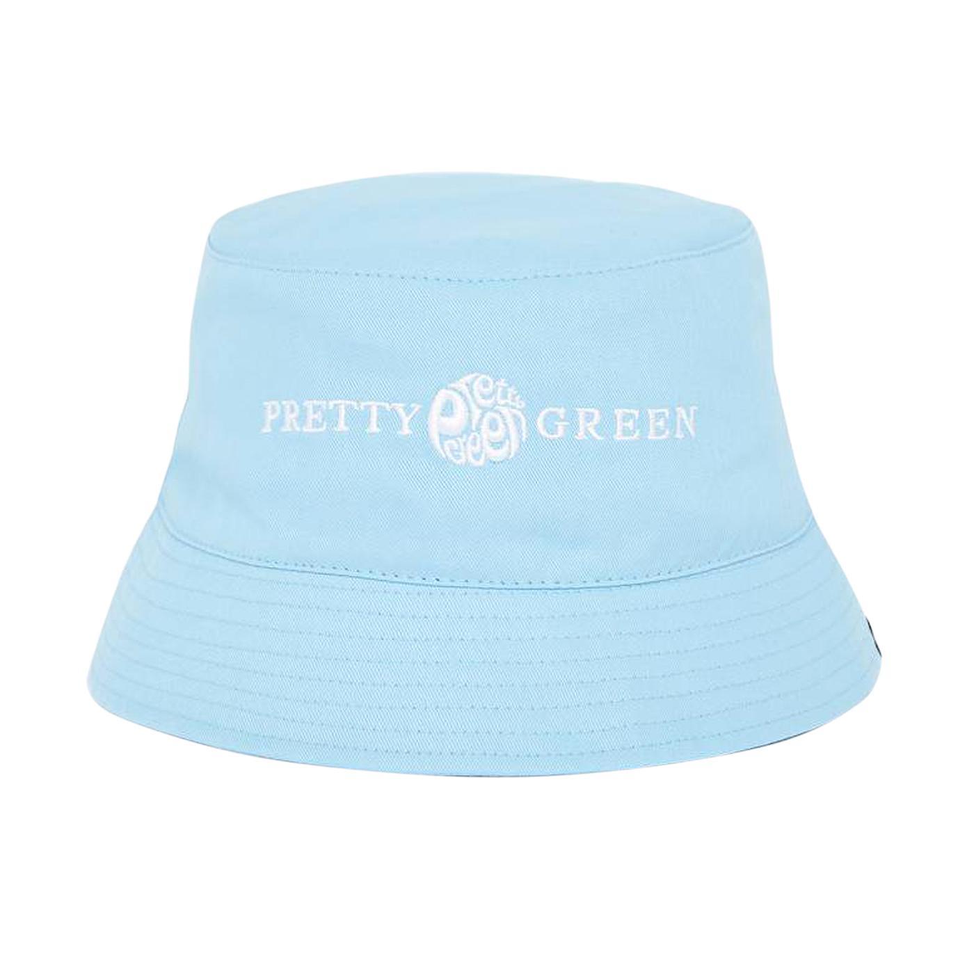 PRETTY GREEN Retro 90s Logo Bucket Hat Blue)