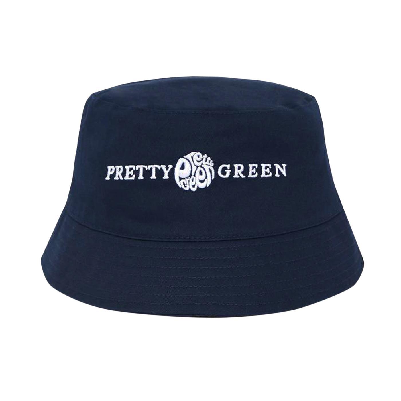 PRETTY GREEN Retro 90s Logo Bucket Hat (Navy)