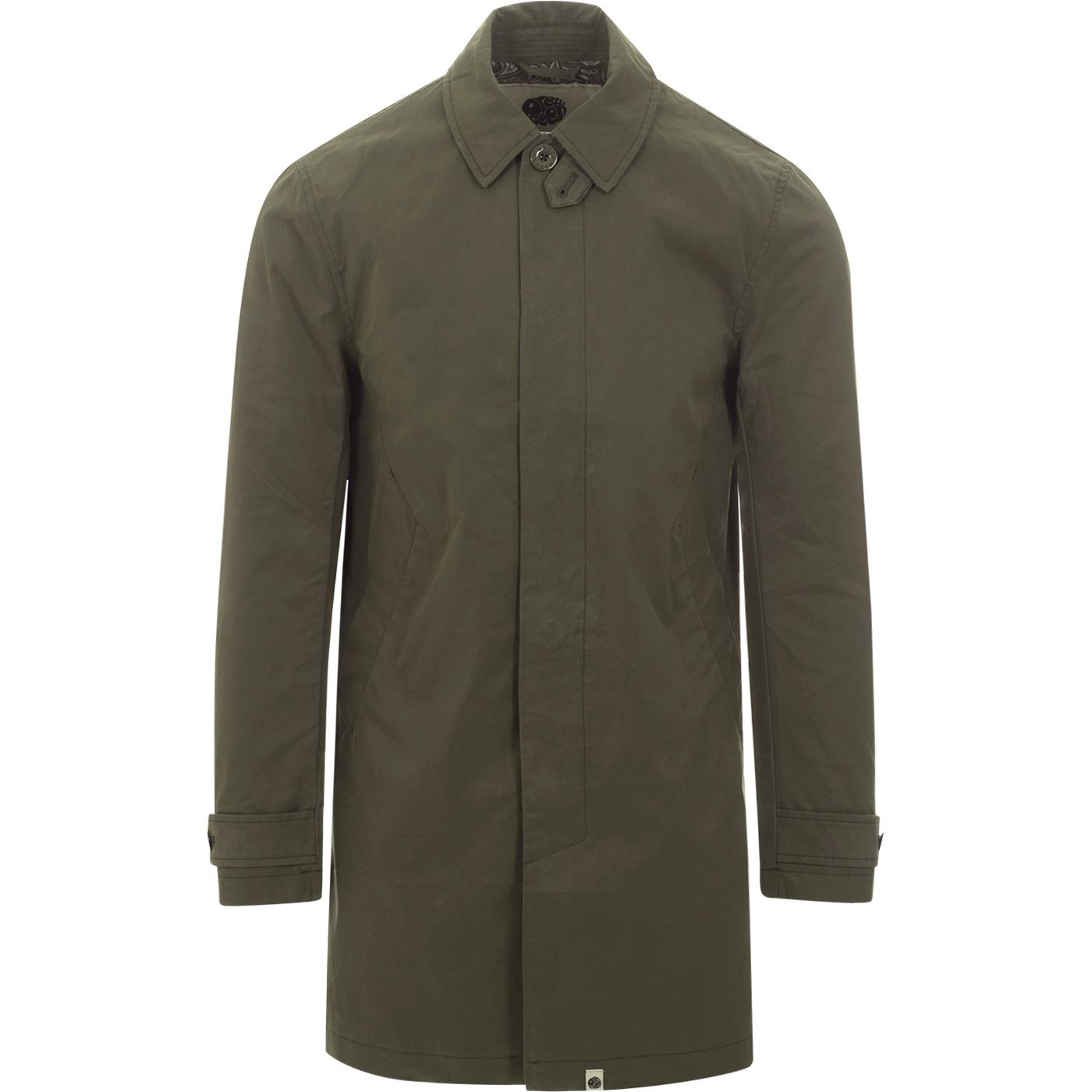 PRETTY GREEN Men's Retro Button Up Mac - Green