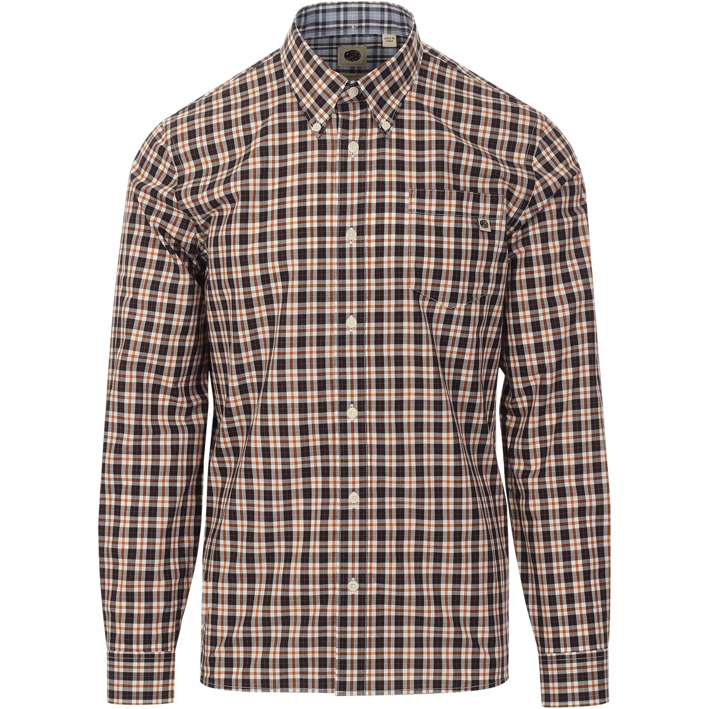 PRETTY GREEN Vintage Gingham Check Shirt In Black
