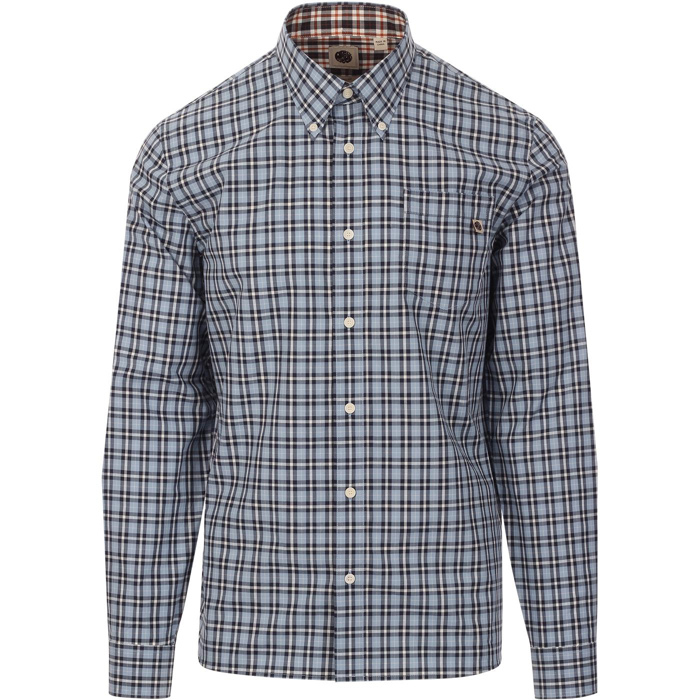 PRETTY GREEN Vintage Gingham Check Shirt In Navy
