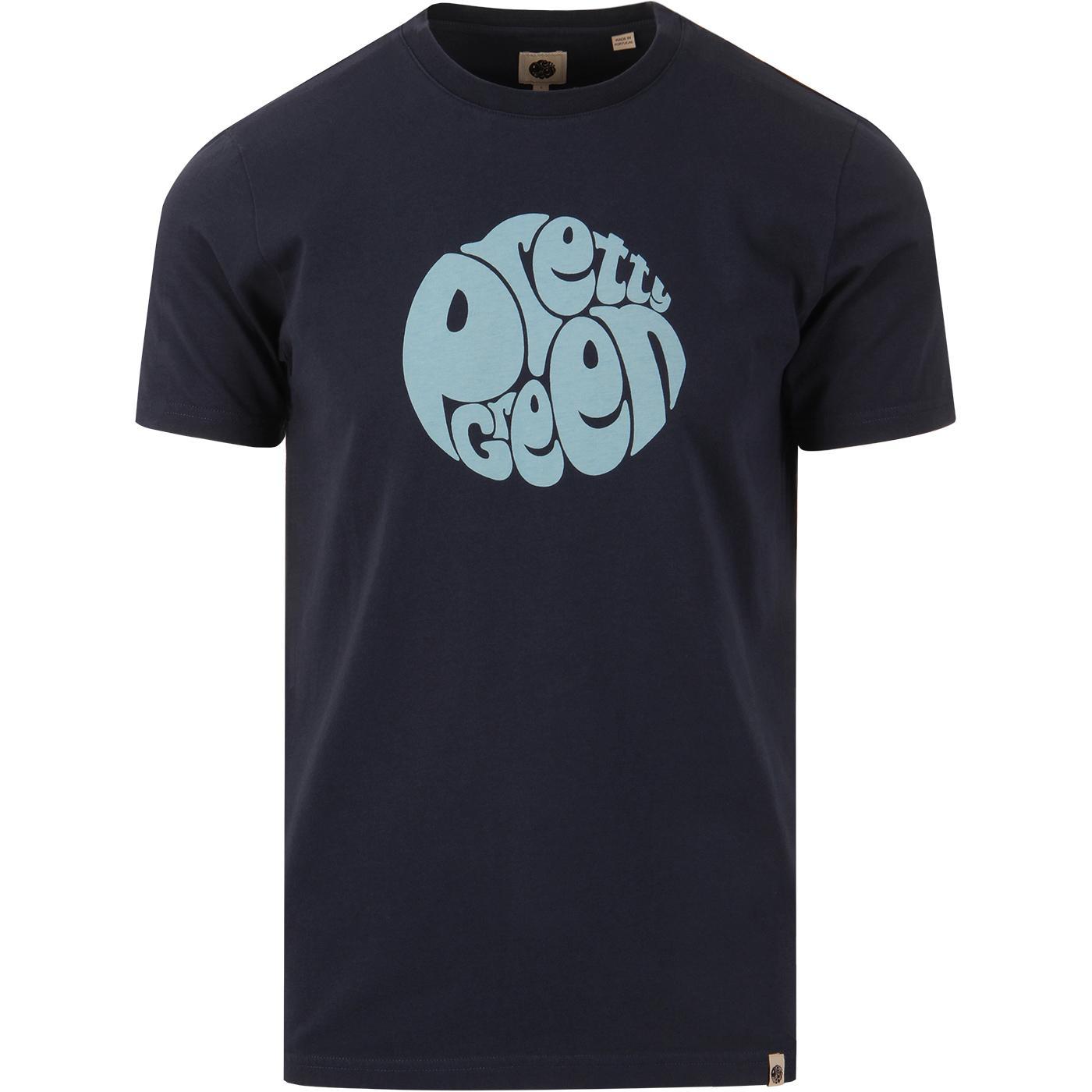 PRETTY GREEN Retro Classic Chest Logo T-Shirt NAVY