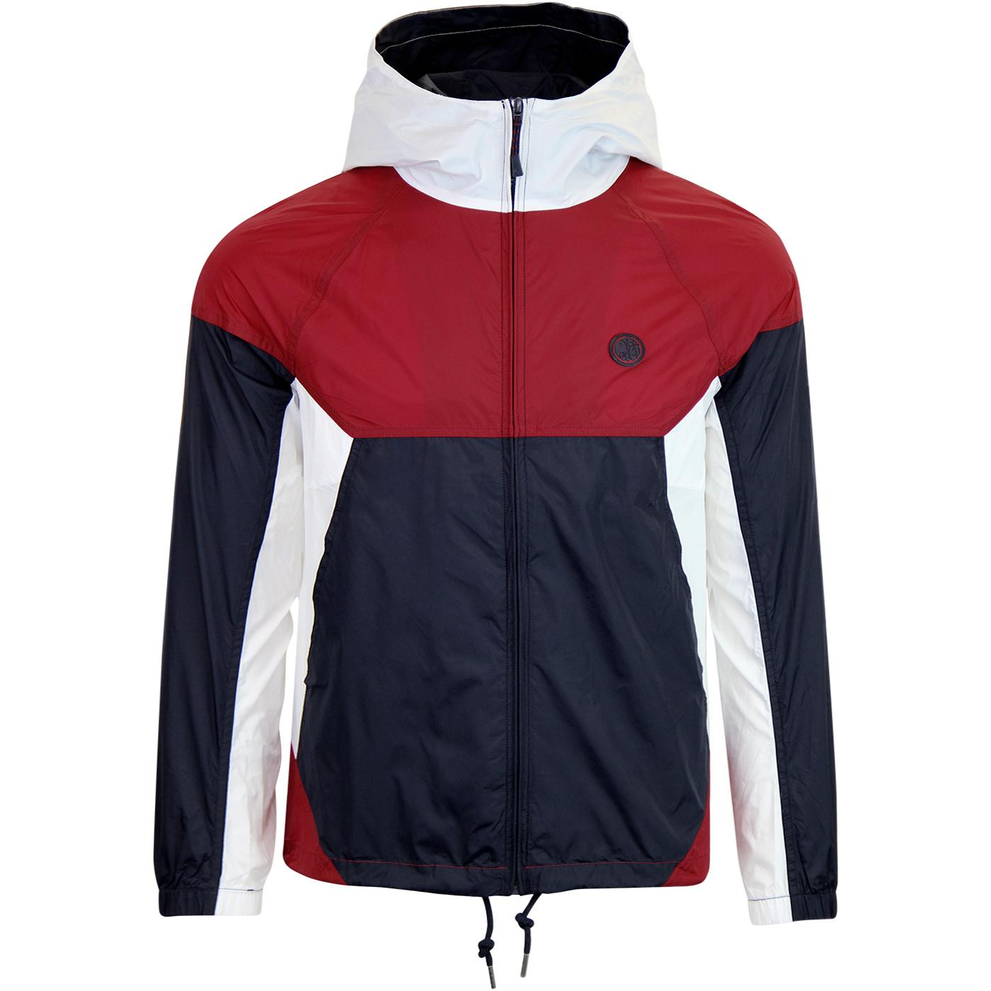 PRETTY GREEN Retro Hooded Anorak Jacket (Red/Navy)
