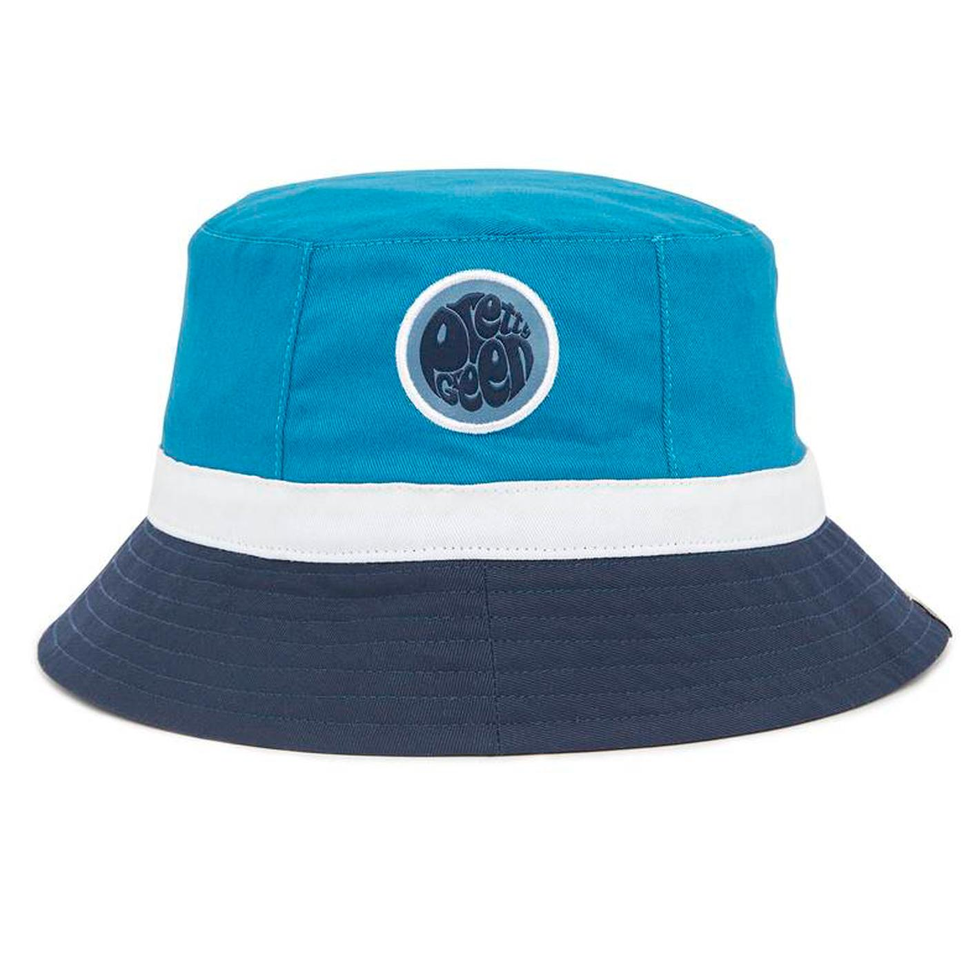 PRETTY GREEN Retro Colour Block Bucket Hat (Blue)