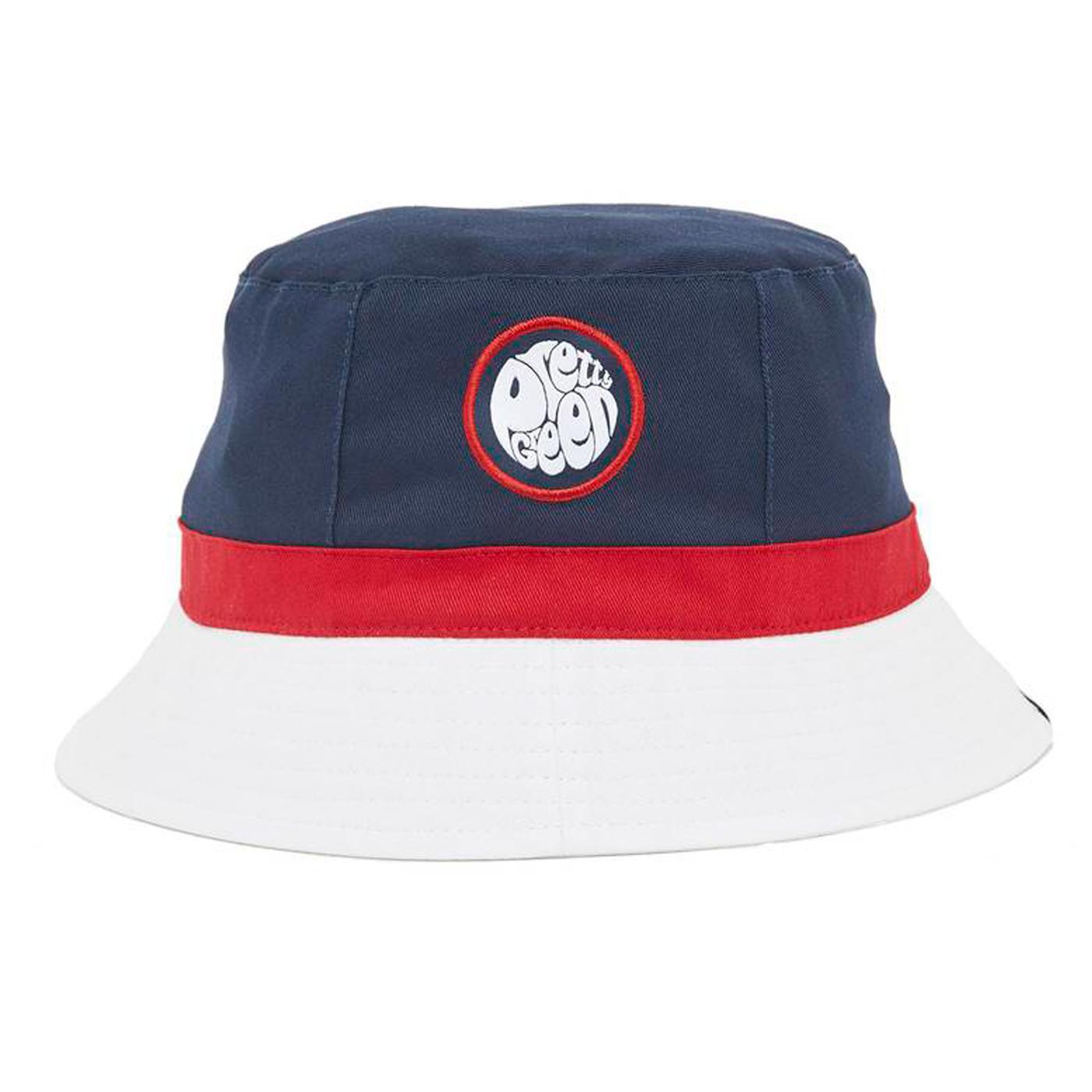 PRETTY GREEN Retro Colour Block Bucket Hat (Navy)