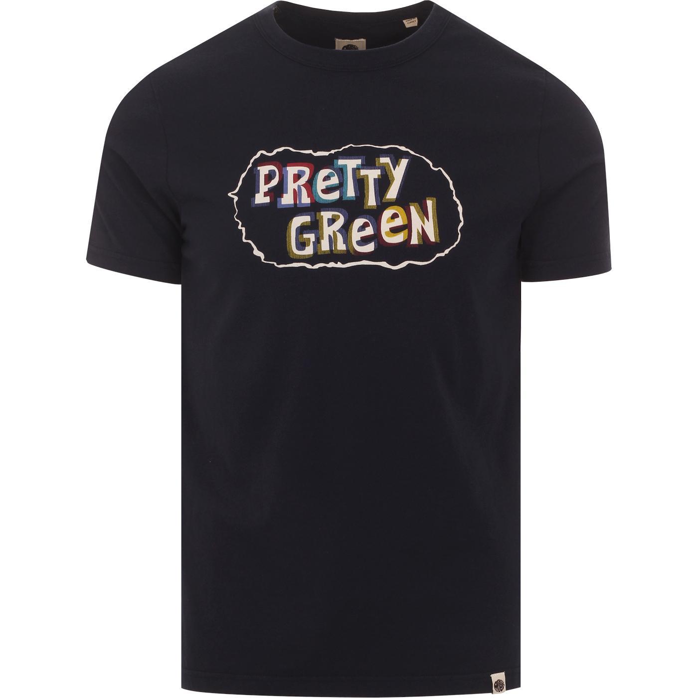 PRETTY GREEN Retro 1950s 3D Logo Print Tee