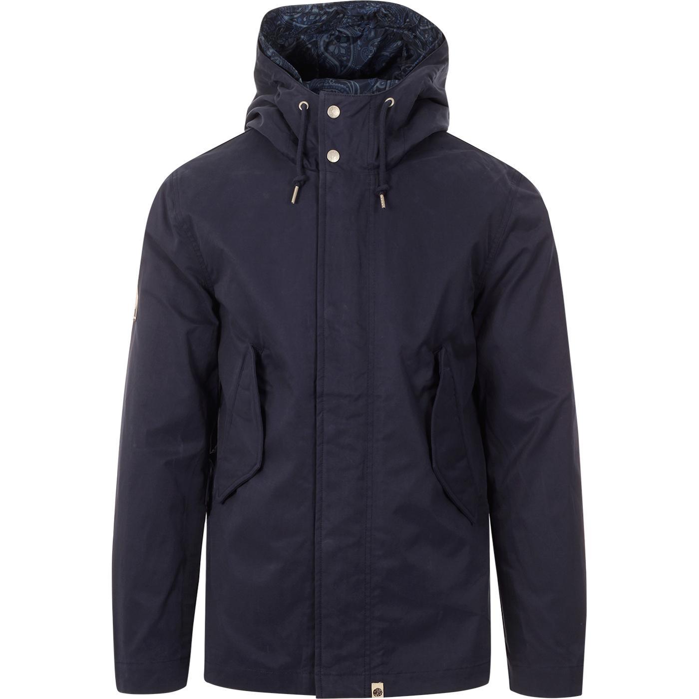 PRETTY GREEN Retro Mod Hooded Cotton Jacket (Navy)